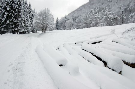 fagaras: paesaggio invernale, montagne Fagaras, Romania Archivio Fotografico