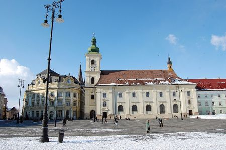 mediaval: old saxon buildings and church, sibiu, the european capital of culture 2007, Romania Stock Photo
