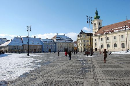 mediaval: old saxon buildings and church in the great square, sibiu, the european capital of culture 2007, Romania