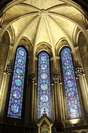 high altar: colorful vitrailles, lille france