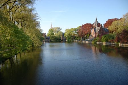 parc: lake of love, minnewatter lake and parc, brugge, belgium