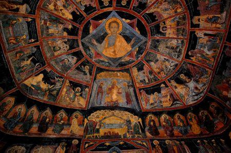 idolatry: mural painting, sinaia monastery, romania