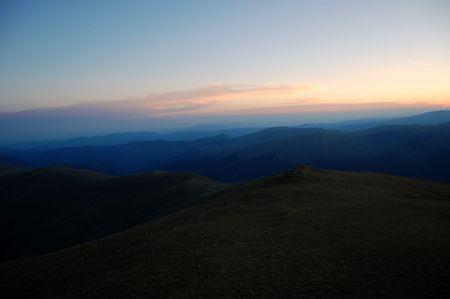 fagaras: dopo il tramonto, le montagne Fagaras Archivio Fotografico