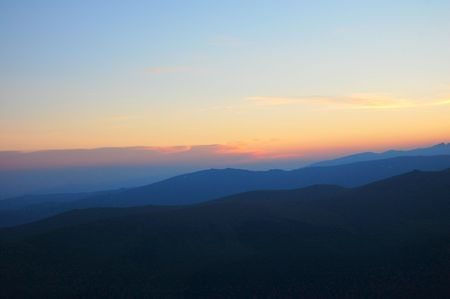 fagaras: sunset in fagaras mountains