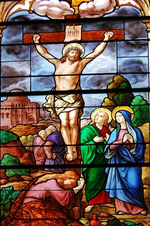 jesus paintings: staind glass with jesus crucifiction