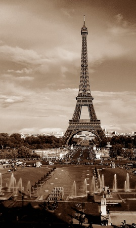 amp tower: eiffel tower, b & w, paris