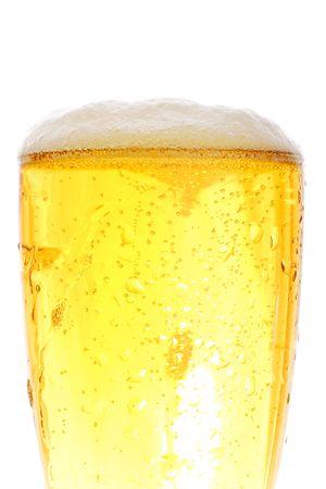 medium shot: Medium shot of beer pint - crisp gold colors