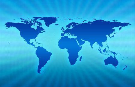 CG carte de la plan�te sur fond bleu Banque d'images