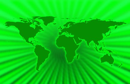 mundi: CG map of planet earth over green  background Stock Photo