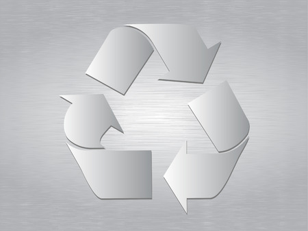 brushed: Recycle Symbol over brushed metal background