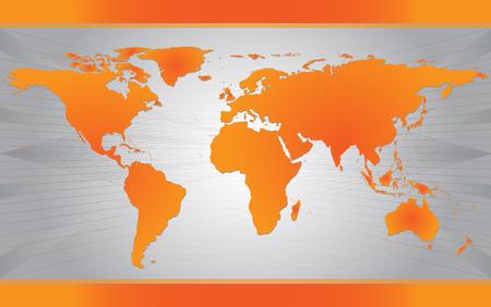 Map of the world over gray modern background