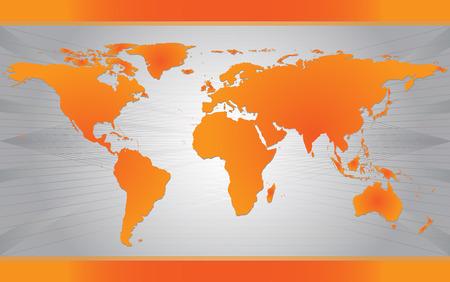 Carte du monde moderne sur fond gris Illustration