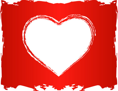 version: Vector Love Heart shape, in vector version white heart area is transparent so it can be overlayed over any color or background Illustration