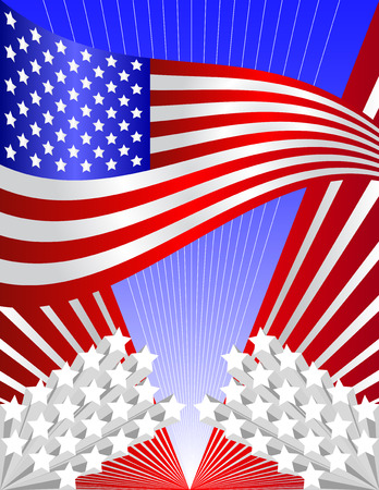 Vector USA patriotic background - in vector version all elements can be used independently