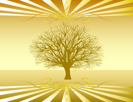 winter tree: Vector Single tree over bare landscape with decorative elements on top and bottom Illustration
