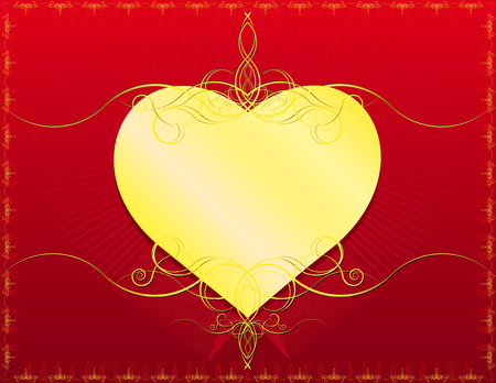 version: Golden Heart with classic swirls- In vector version all elements are independent and can be reused