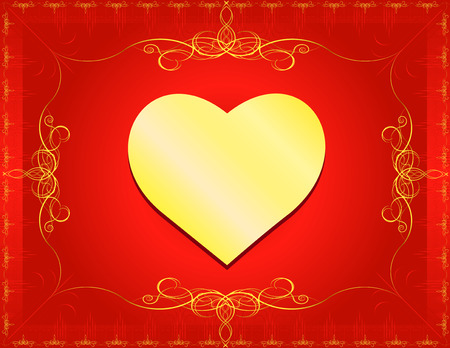 version: Golden Heart with classic border and swirls- In vector version all elements are independent and can be reused