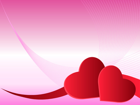 version: Hearts over gradient pink background with swirls- In vector version all elements are independent and can be reused Illustration