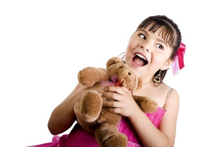 endearing: Studio shot of endearing girl with teddy bear wearing fancy dress - Isolated on white
