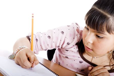 Mixed race girl doing homework over white background