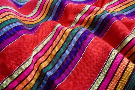 Close up of mexican colorful traditional fabric