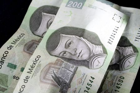 Close-up of three of mexico's two hundred peso bill