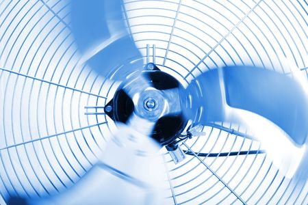Close up shot of industrial fan while spinning Stock Photo