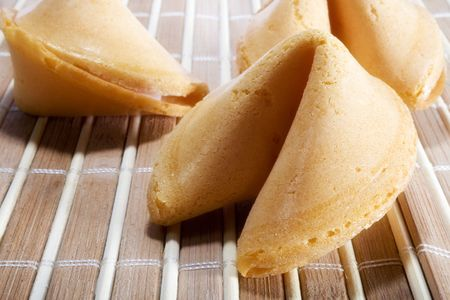 Fortune cookies over Bamboo placemat photo