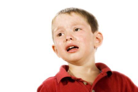 Stock image of child crying, isolated on white Stockfoto