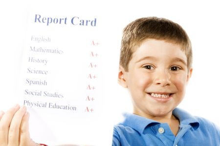grades: Stock photo of child holding report card, all a+, isolated on white Stock Photo