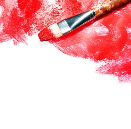 Stock image of paintbrush and red paint strokes over white canvas with copy space Stock Photo - 5424483
