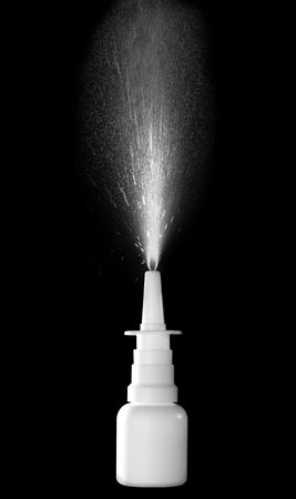 congestion: Stock image of nasal spray bottle while spraying over black background