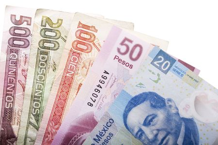 bankroll: Stock image of five mexican peso banknotes of various denominations over white Stock Photo