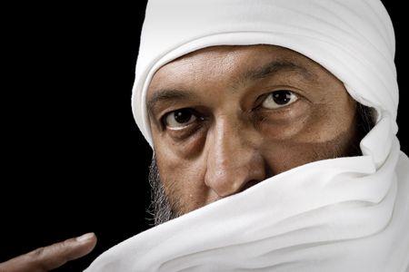 Stock image of Arab Man with turban over black background Zdjęcie Seryjne - 6187015