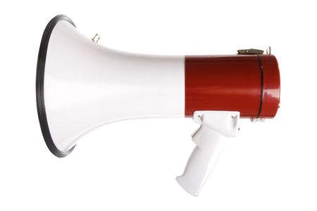 Stock image of red and white megaphone isolated on white