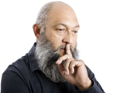 Stock image of senior man with long beard thinking, isolated on white.