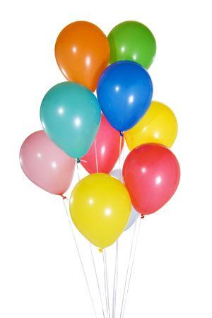levitacion: Imagen de existencias de colorfun globos flotantes. Aislados en blanco.