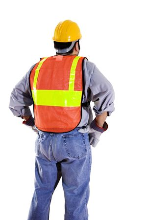 Stock image of construction worker wearing protective gear isolated on white Zdjęcie Seryjne