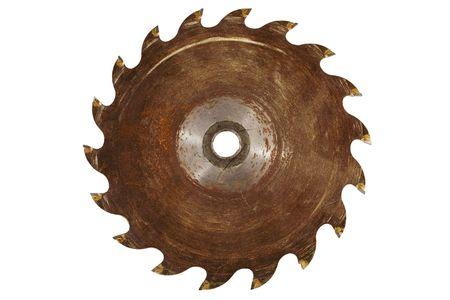 oxidado: Imagen stock de rusty vio blade, aislado en blanco.