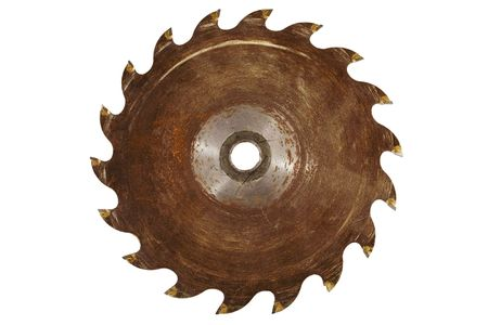 blade: Stock image of rusty saw blade, isolated on white.