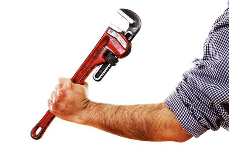 Stock image of man holding red pipe wrench, isolated on white. Stock Photo