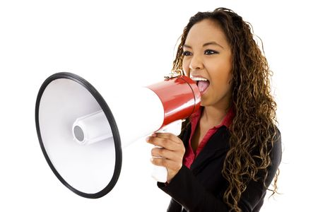 Stock image of businesswoman shouting using megaphone over white background