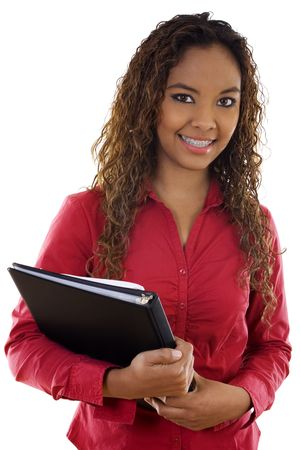 Stock image of female student over white background