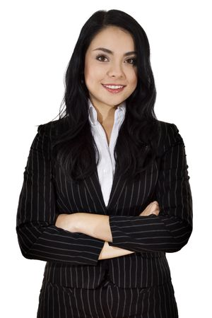 pinstripe: Stock image of businesswoman over white background Stock Photo