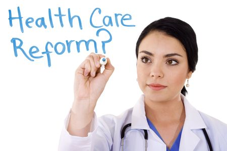 Stock image of female doctor writing on whiteboard: Health care reform?... Image over white background photo