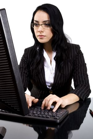 Stock image of female typing on computer over white background