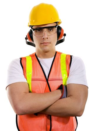 Stock image of male construction worker wearing full safety gear over white background Zdjęcie Seryjne