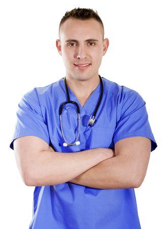 male arm: Stock imagen del trabajador de salud masculina con los brazos cruzados sobre fondo blanco  Foto de archivo
