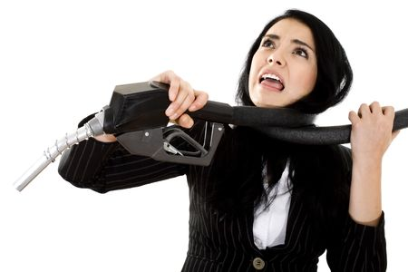 Stock image of woman being choked by fuel pump hose, over white background Stock Photo - 6702678
