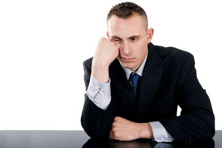 Stock image of bored businessman over white background Stock Photo